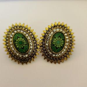 Green/gold Pakistani & Indian ethnic earrings